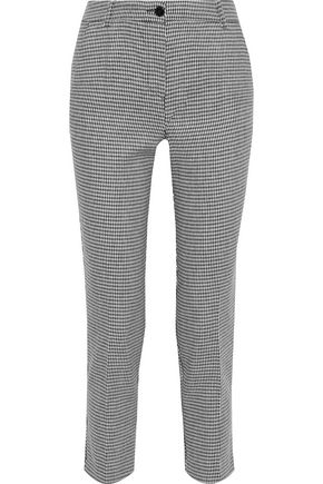 IRIS & INK Ryden cropped houndstooth woven slim-leg pants