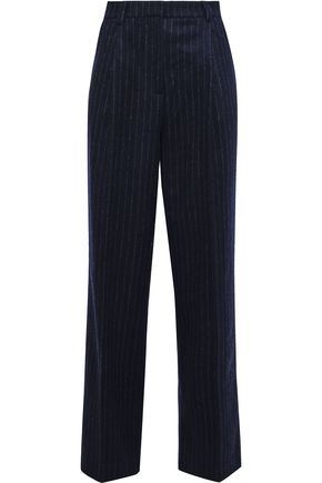 IRIS & INK Dagny pinstriped brushed wool-blend straight-leg pants