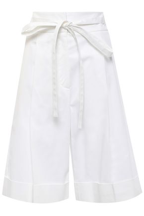 ROCHAS Belted cotton-blend twill shorts