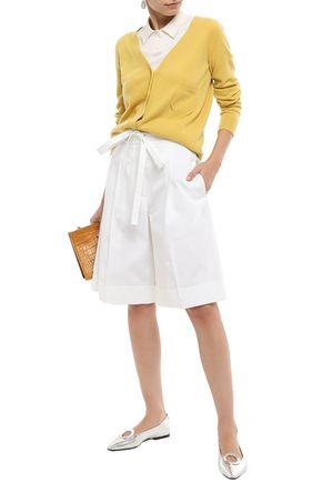 Rochas Shorts ROCHAS WOMAN BELTED STRETCH-COTTON GABARDINE SHORTS WHITE