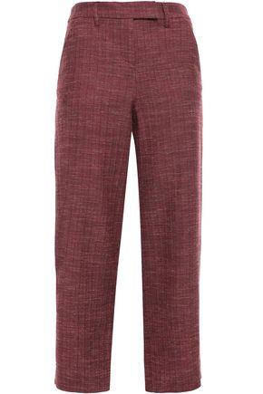 VERONICA BEARD Cropped wool, cotton and linen blend straight-leg pants