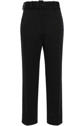 SANDRO Belted jersey straight-leg pants