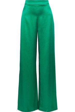 CUSHNIE Silk-satin wide-leg pants