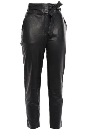 VERONICA BEARD Belted leather tapered pants