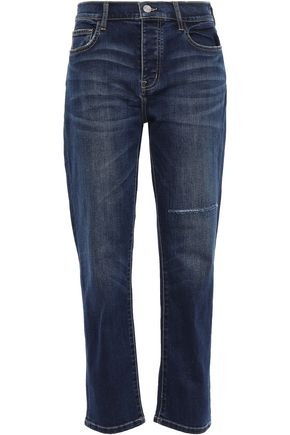 CURRENT/ELLIOTT Distressed high-rise straight-leg jeans