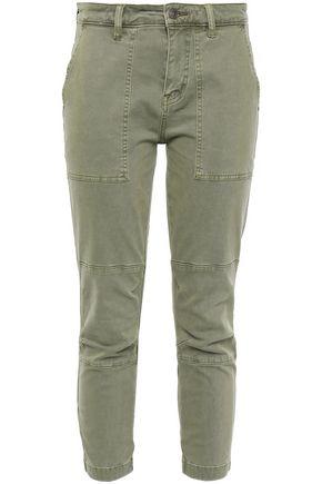 CURRENT/ELLIOTT Cropped lace-up cotton-blend twill slim-leg pants