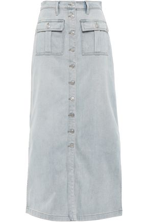 CURRENT/ELLIOTT Blue Wave denim midi skirt