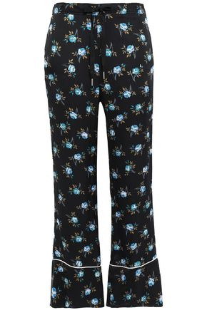 SANDRO Floral-print satin flared pants
