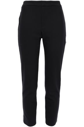 VINCE. Faux leather-trimmed stretch-cady slim-leg pants