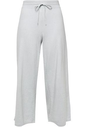 VINCE. Cropped knit cotton wide-leg pants