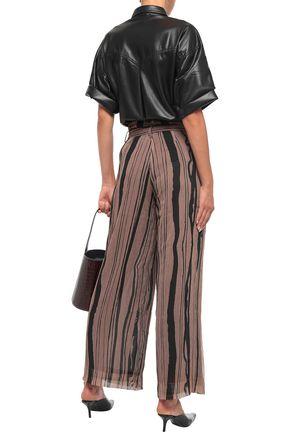 NANUSHKA Nevada belted georgette wide-leg pants