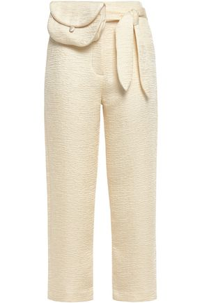 NANUSHKA Raimo cropped belted matelassé straight-leg pants