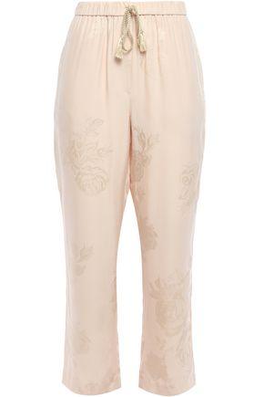 NANUSHKA Balian cropped jacquard straight-leg pants