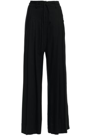 ANN DEMEULEMEESTER Pleated crepe flared pants