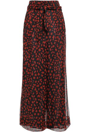 NANUSHKA Nevada belted georgette wide-leg pants