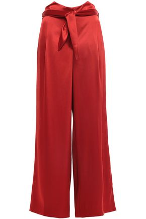 NANUSHKA Marie belted satin wide-leg pants