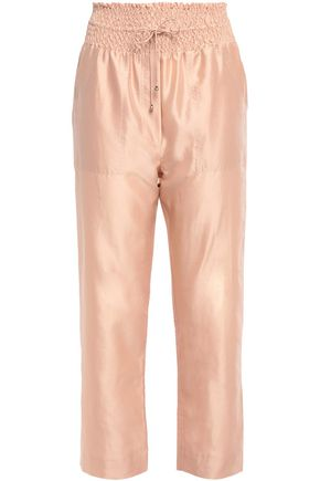 NANUSHKA Harlem cropped taffeta straight-leg pants