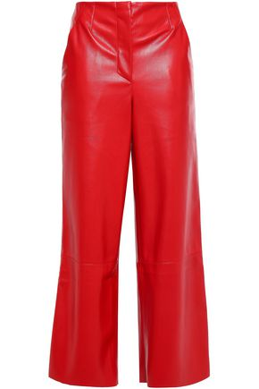 NANUSHKA Cropped vegan leather wide-leg pants