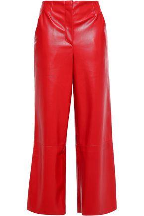 NANUSHKA Cropped vegan leather wide-leg pants