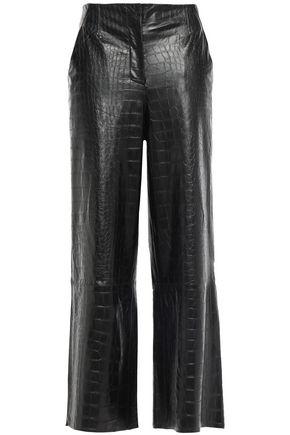 NANUSHKA Cropped croc-effect vegan leather wide-leg pants