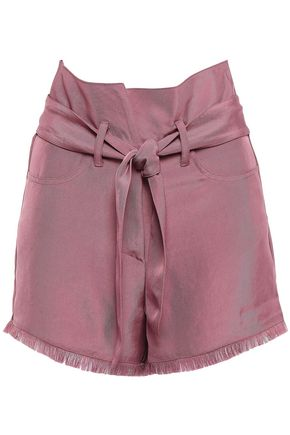 NANUSHKA Belted frayed canvas shorts
