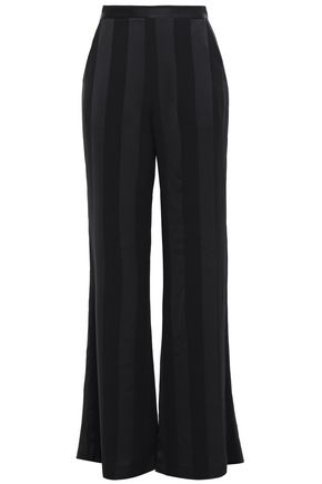 REBECCA VALLANCE Crepe and satin wide-leg pants