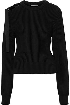 HELMUT LANG Cutout buckled ribbed cotton sweater