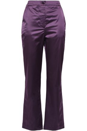 ALEXACHUNG Cropped satin straight-leg pants