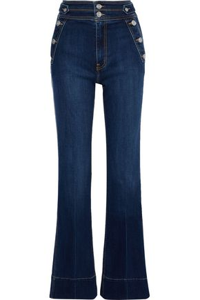 CURRENT/ELLIOTT The Maritime button-detailed high-rise flared jeans