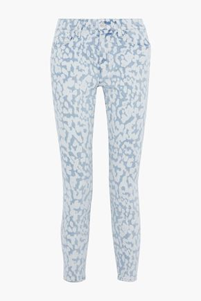 CURRENT/ELLIOTT The High Waist Stiletto cropped printed high-rise skinny jeans