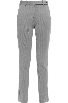THEORY Cropped striped stretch-knit skinny pants