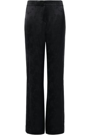 THEORY Split-side satin-jacquard wide-leg pants