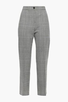 THEORY Cardinal cropped checked wool-blend straight-leg pants