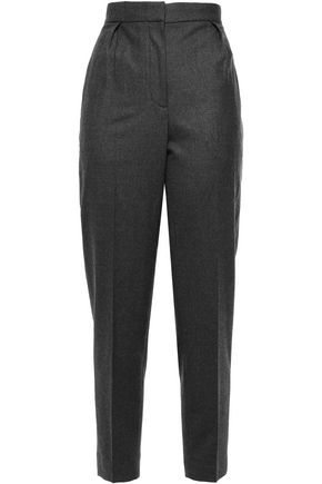 THEORY Cropped pleated mélange wool-blend tapered pants