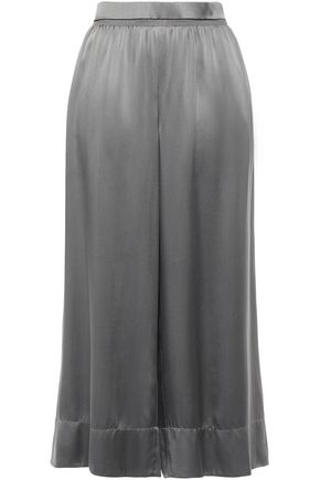 THEORY Shirred silk-satin culottes