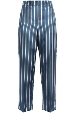 THEORY Cropped striped silk-satin twill straight-leg pants