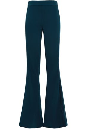 CUSHNIE Charmeuse-trimmed stretch-crepe flared pants