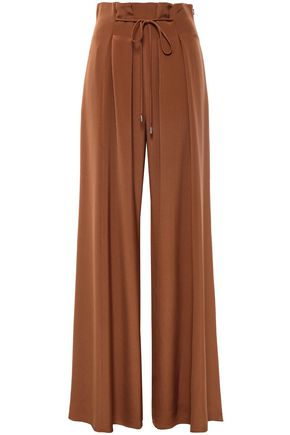 CUSHNIE Pleated silk crepe de chine wide-leg pants
