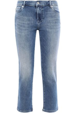 LOVE MOSCHINO Cropped embellished printed mid-rise slim-leg jeans