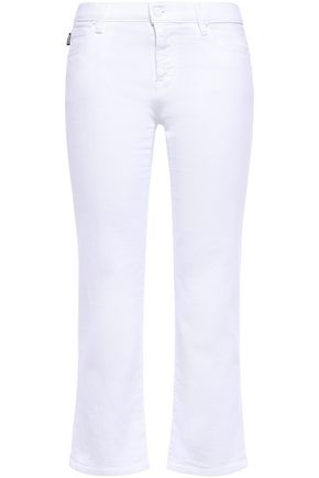 LOVE MOSCHINO Appliquéd mid-rise kick-flare jeans