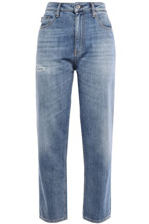 LOVE MOSCHINO Cropped distressed straight-leg jeans