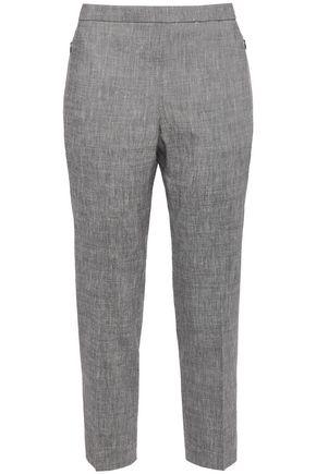 THEORY Cropped linen-blend slim-leg pants
