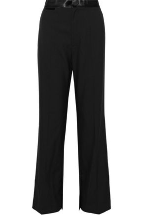 HELMUT LANG Satin-trimmed wool and mohair-blend wide-leg pants