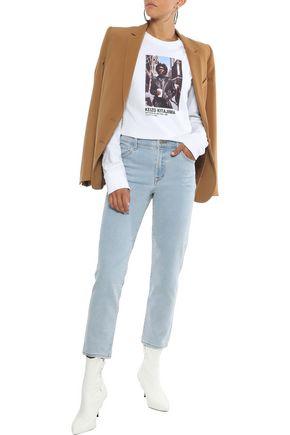 J Brand Woman Ruby Cropped Faded High-Rise Slim-Leg Jeans Light Denim