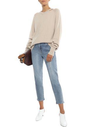 J Brand Woman Ruby Cropped Faded High-Rise Slim-Leg Jeans Mid Denim