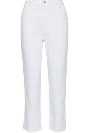 J BRAND Wynne cropped embroidered high-rise straight-leg jeans