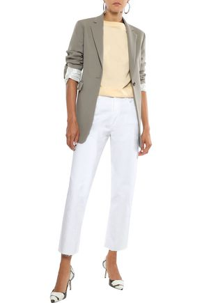 J Brand Woman Wynne Cropped Embroidered High-Rise Straight-Leg Jeans White