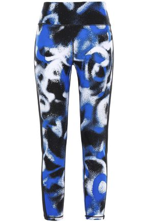 DKNY Cropped printed stretch-jersey leggings