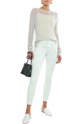 J Brand Woman Alana Cropped Distressed High-Rise Skinny Jeans Mint