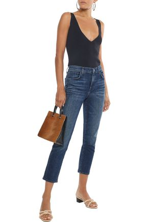 J Brand Woman Ruby Cropped Distressed High-Rise Slim-Leg Jeans Mid Denim